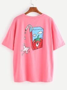 Pink Milk Cartoon Print Causal T-shirt