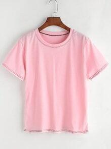 Camiseta casual con detalle de pespunte - rosa
