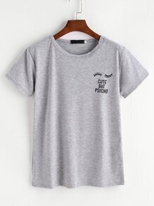 Grey Eyelashes And Letter Print T-shirt