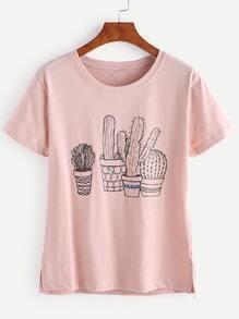 Camiseta con estampado de cactus en maceta - rosa