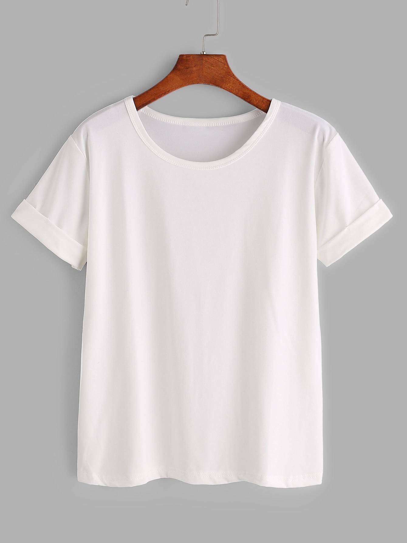 White rolled sleeve basic t shirtfor women romwe for Basic shirts for women