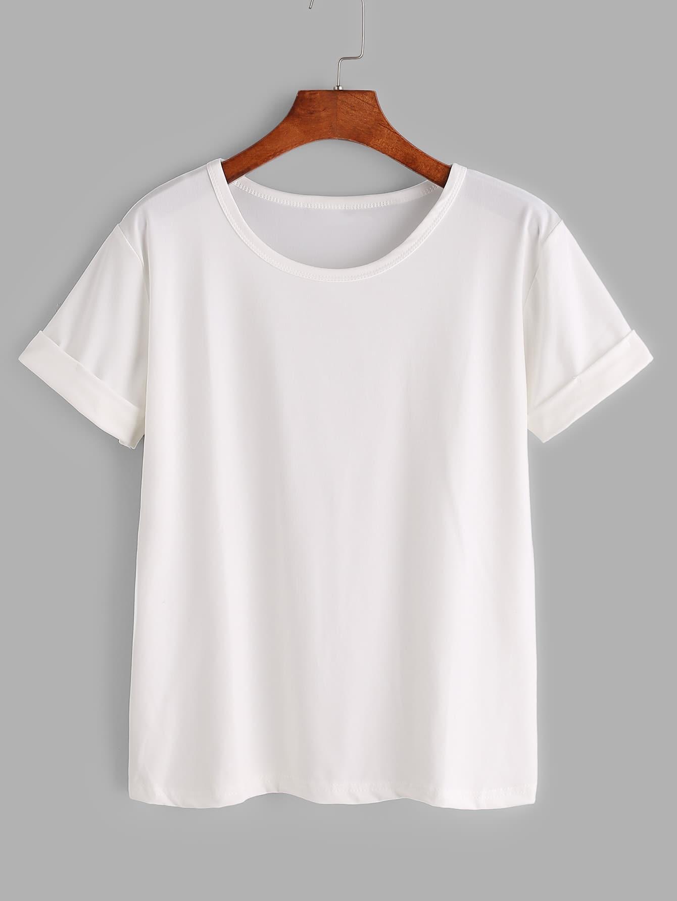 White Rolled Sleeve Basic T Shirt
