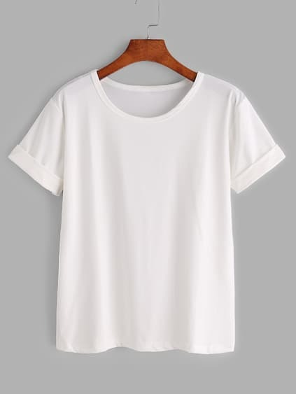 White Rolled Sleeve Basic T-shirt