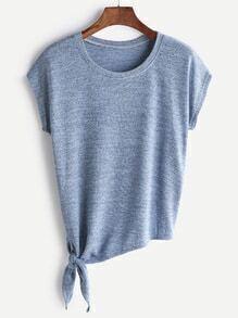 Camiseta con nudo en la parte lateral - azul