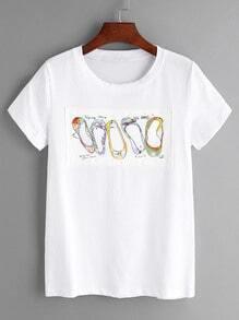Camiseta con estampado de zapatos - blanco