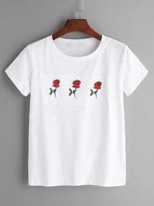 Shirt estampage tache rose - blanc