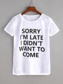 White Sentence Print T-shirt