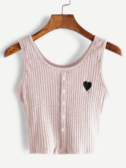 Pink Button Front Heart Embroidered Tank Top