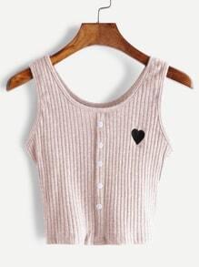 Top con bordado de corazón y botón en la parte delantera - rosa