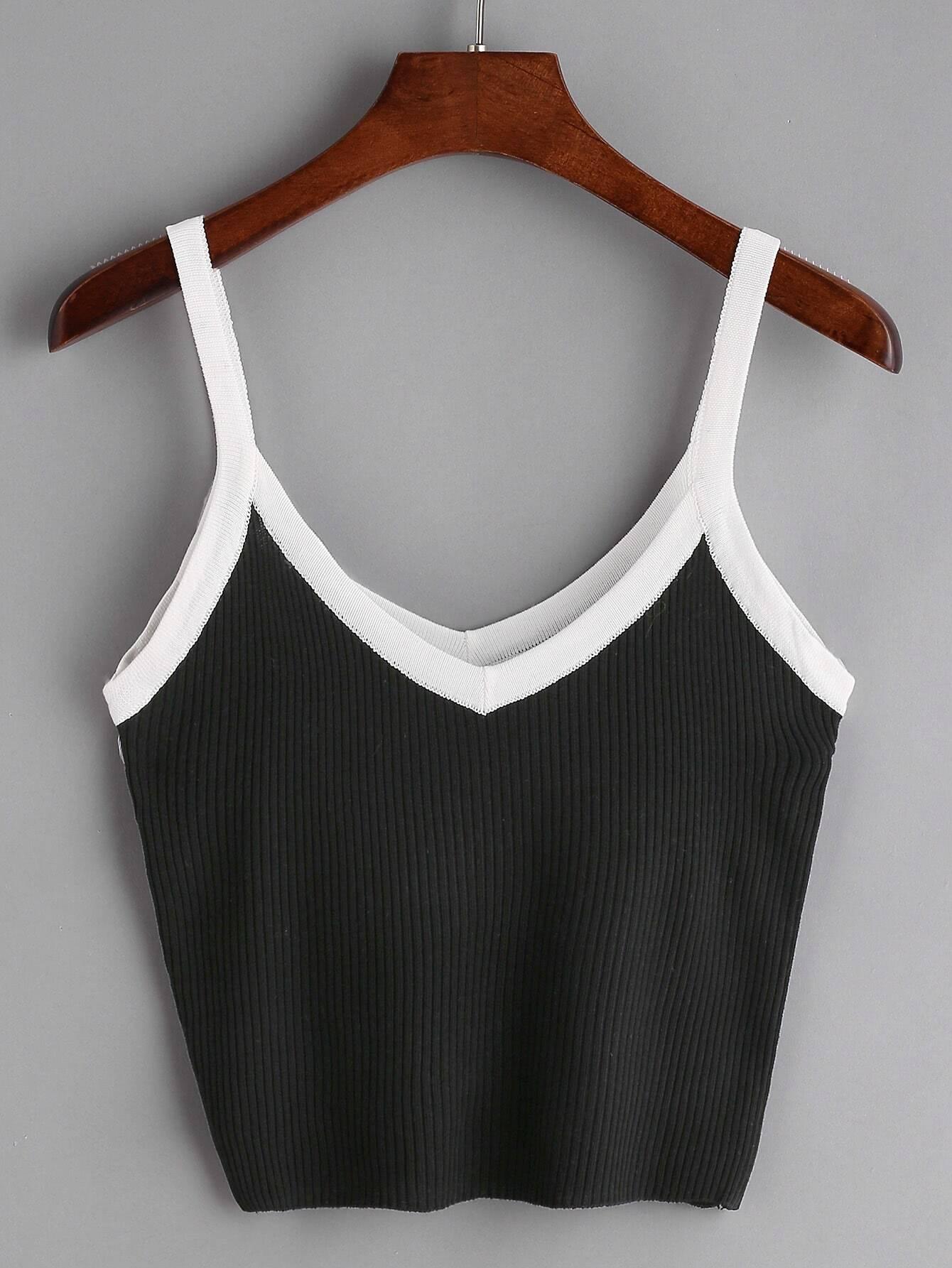 Black Contrast Trim Ribbed Cami Top RVES170309104
