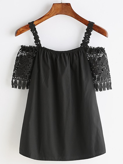 Black Crochet Lace Cold Shoulder Blouse