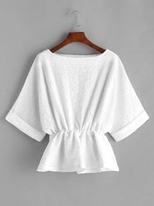 White Elastic Waist Raglan Sleeve Cuffed Blouse
