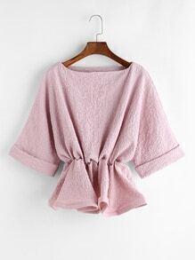 Blusa de manga raglán con cintura elástica - rosa