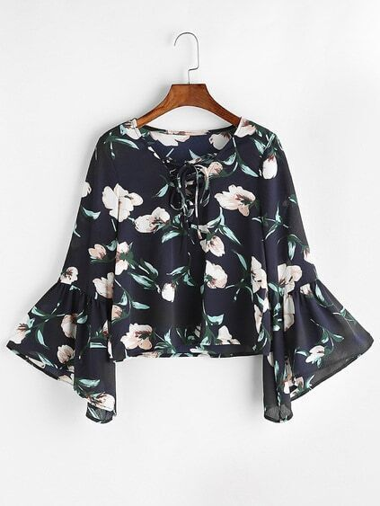Navy Florals Lace Up V Neck Bell Sleeve Blouse