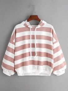 Sudadera de capucha a rayas con cordón - rosa