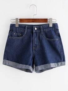 Gebrochene Jeans-Shorts - blau