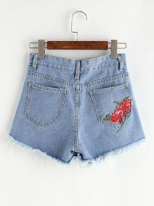 Blue Embroidered Raw Hem Denim Shorts