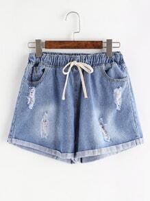 Blue Ripped Drawstring Cuffed Denim Shorts