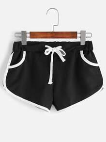 Shorts ribete en contraste con cordón - negro
