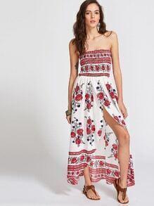 Blumendruck trägerloses Shirred Wrap Dress