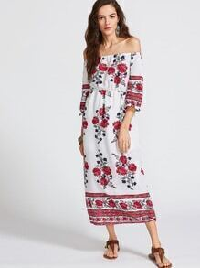 Florals Off The Shoulder Slit Hem Dress