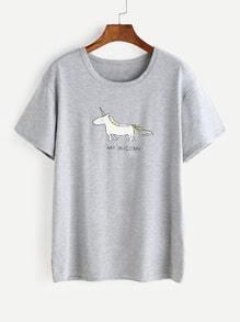 Camiseta con estampado de caricatura - gris