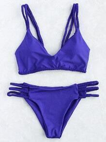 Blue Braided Strap Ladder Cutout Bikini Set