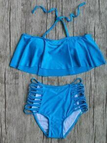 Blue Ruffle Ladder Cutout High Waist Bikini Set
