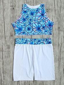 Set bikini con estampado floral dos piezas - azul blanco