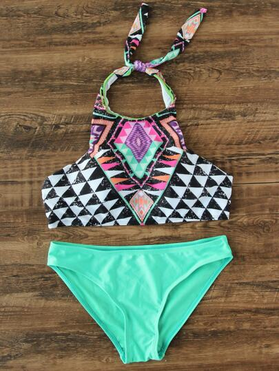 Geometric Print Halter Mix & Match Bikini Set