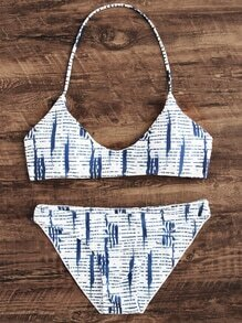 White Striped Print Halter Bikini Set