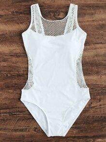 White Hollow Out Design One-Piece Swimwear