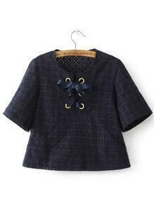 Navy Eyelet Lace Up Hollow Out Blouse