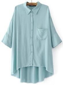Blue 3/4 sleeve Pocket High Low Blouse
