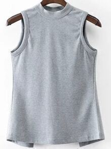 Grey Open Back Lace Up Sleeveless Top
