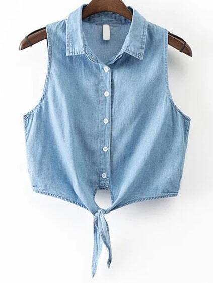 Blue Knot Front Sleeveless Denim Top