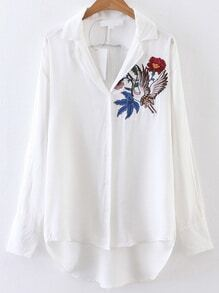 White Cranes Embroidered High Low Blouse