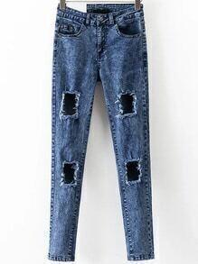 Blue High Waist Ripped Denim Pants