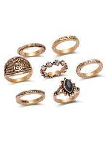 Set anillos vintage con diseño de apliques cristales - bronce