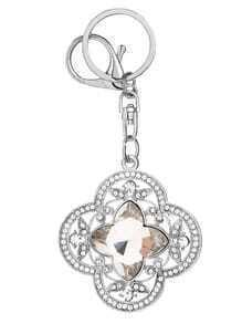 Silver Rhinestone Flower Shape Keychain