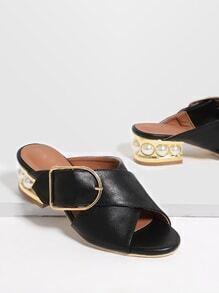 Sandalias de tacón grueso pu con hebilla - negro