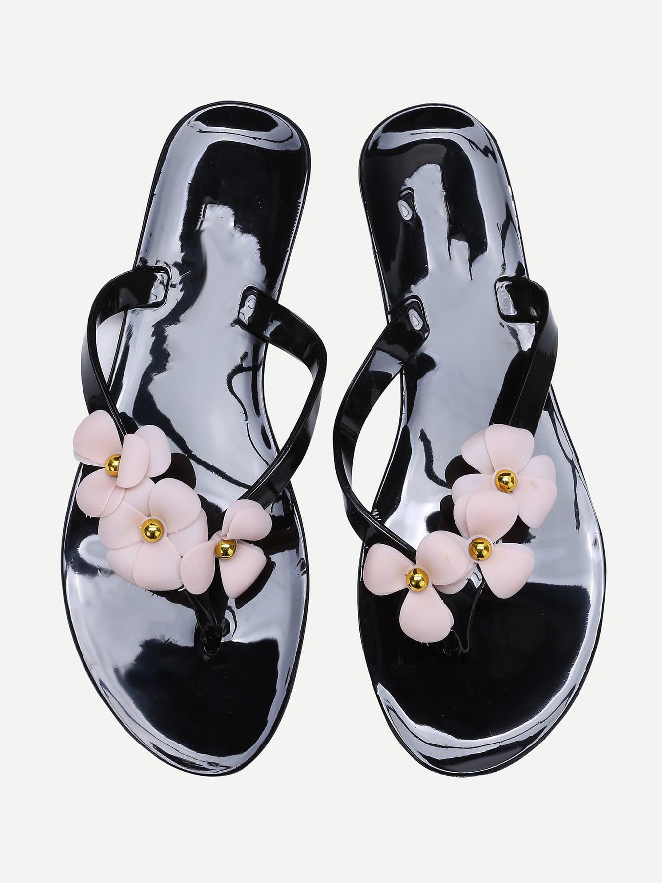 Black Flower Embellished Flip-Flops