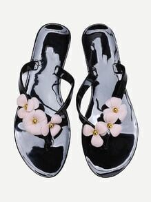 Flip-flop noir fleur embellie