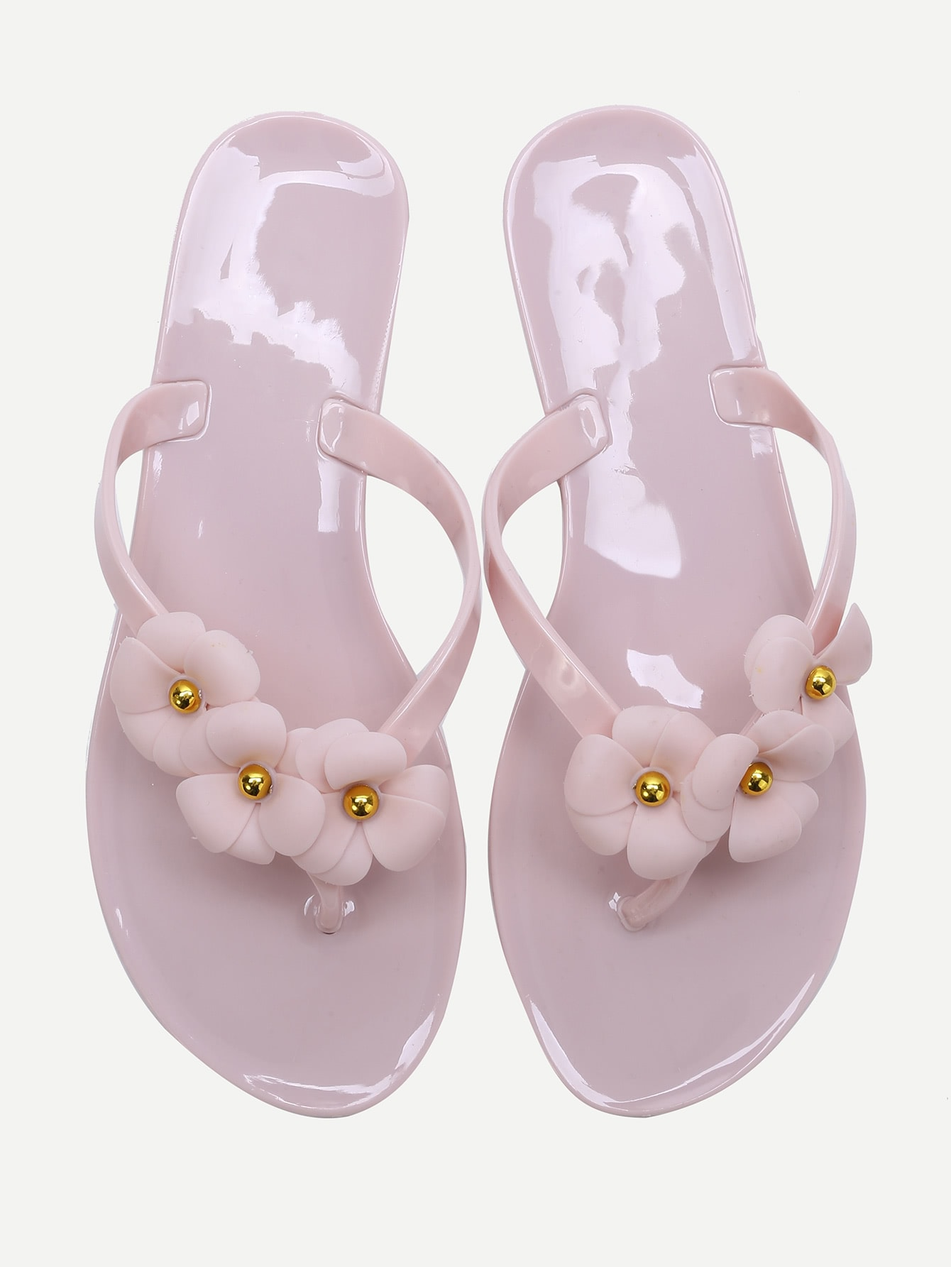 Pink Flower Embellished Flip-Flops shoes170309808
