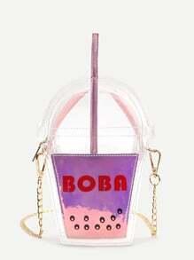 Bandolera con estampado de letra en forma de taza - rosa