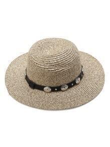 Sombrero de paja con banda de cuero sintético - albaricoque