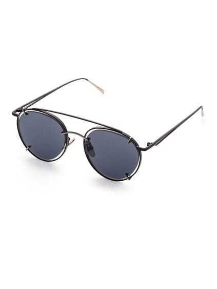 Black Frame Double Bridge Sunglasses
