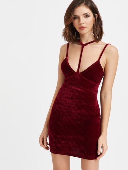 Burgundy Velvet Choker Strap Bodycon Dress