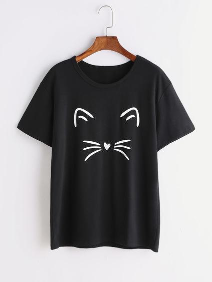 T-shirt imprimé chat noir