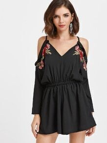 Black Cold Shoulder Ruffle Trim Appliques Tie Back Romper